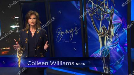 Colleen Williams presents the Los Angeles Area Emmy award for Art/Culture/Historical News Story at the 2020 Los Angeles Area Emmy Awards which streamed on Emmys.com on