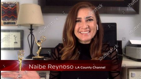Naibe Reynoso presents the Los Angeles Area Emmy award for Crime/Social Issues at the 2020 Los Angeles Area Emmy Awards which streamed on Emmys.com on