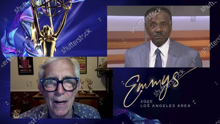 Fritz Coleman, left, presents the Los Angeles Area Emmy for Regularly Scheduled Daily Evening Newscast: 7:00pm - 12:00am to Marc Brown from ABC7 for Eyewitness News at 11pm at the 2020 Los Angeles Area Emmy Awards, which streamed on Emmys.com on