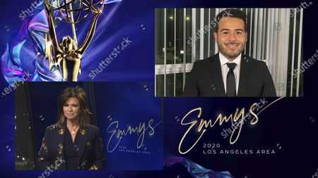 """Stock Picture of Colleen Williams, left, presents the Los Angeles Area Emmy for Art/Cultural/Historical News Story to Joab Perez from KTTV-TV for """"50 Years of Fighting On"""" at the 2020 Los Angeles Area Emmy Awards, which streamed on Emmys.com on"""
