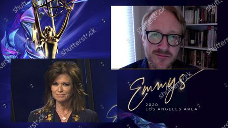 """Stock Photo of Colleen Williams, left, presents the Los Angeles Area Emmy for Culture/History to Nathan Masters from KCET for """"Three Views of Manzanar"""" at the 2020 Los Angeles Area Emmy Awards, which streamed on Emmys.com on"""