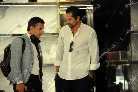 Marco Borriello shopping in Saint Laurent boutique with his lawyer Antonello Natale