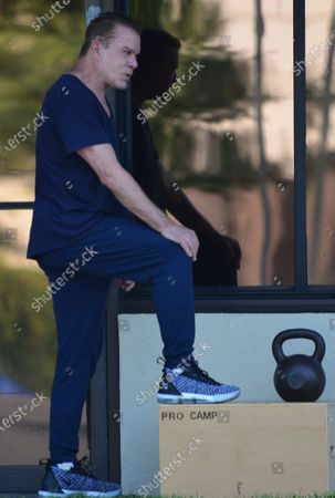 Stock Photo of Ray Liotta working out at Golds Gym