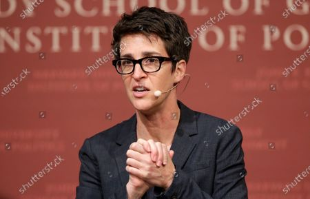 "MSNBC television anchor Rachel Maddow, host of the Rachel Maddow Show, moderates THE ""Perspectives on National Security"" panel, in Cambridge, Mass. Maddow and Mary Trump, President Donald Trump's niece, make a formidable TV combination. Her one-hour interview with Rachel Maddow last Thursday reached 5.2 million people, the biggest audience ever for one of Maddow's shows and largest ever for a regularly-scheduled show on MSNBC, the Nielsen company said"
