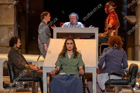 Irene Arcos (C), in the role of Antigone, and other actors perform during the premiere of the play Antigona during the 66th International Classic Theater Festival in Merida, Spain, 21 July 2020 (issued on 22 July 2020).