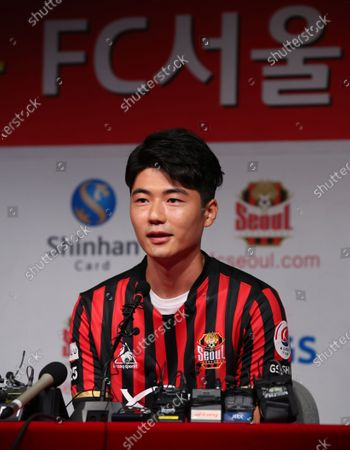 Stock Image of FC Seoul midfielder Ki Sung-yueng speaks during his introductory press conference, for rejoining the K League 1 club, at Seoul World Cup Stadium in Seoul, South Korea, 22 July 2020. FC Seoul said the midfielder is signed through 2023, but financial details will not be disclosed under a mutual agreement.