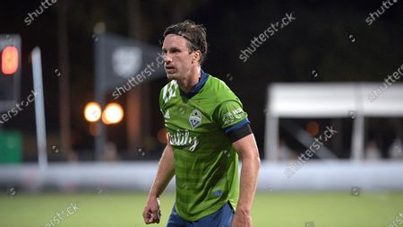 Seattle Sounders defender Gustav Svensson sets up for a play during the second half of an MLS soccer match against the Vancouver Whitecaps, in Kissimmee, Fla
