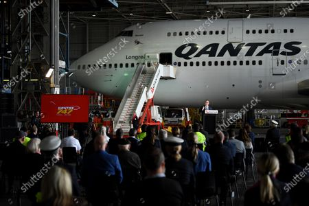 Qantas CEO Alan Joyce (C-R) speaks in front of Qantas Airways flight QF7474 during an official farewell event for the Qantas 747 fleet at Sydney Airport in Sydney, aAustralia, 22 July 2020. The iconic aircraft type is being retired from the Qantas fleet after almost 50 years of service.