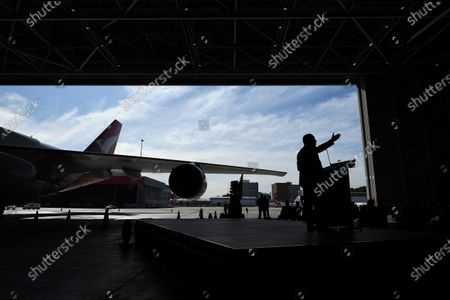 Qantas CEO Alan Joyce speaks during an official farewell event for the Qantas 747 fleet at Sydney Airport in Sydney, aAustralia, 22 July 2020. The iconic aircraft type is being retired from the Qantas fleet after almost 50 years of service.