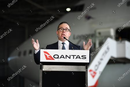 Qantas CEO Alan Joyce speaks in front of Qantas Airways flight QF7474 during an official farewell event for the Qantas 747 fleet at Sydney Airport in Sydney, aAustralia, 22 July 2020. The iconic aircraft type is being retired from the Qantas fleet after almost 50 years of service.