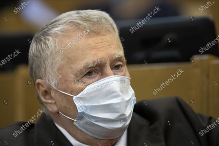 Russian Liberal Democratic Party leader Vladimir Zhirinovsky wearing a face mask to protect against coronavirus, attends a session at the State Duma, the Lower House of the Russian Parliament, with an annual report on the country's economic and social development, in Moscow, Russia