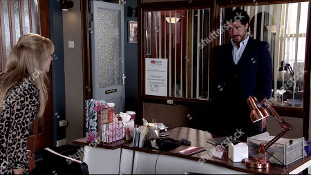 Coronation Street - Ep 10092 Friday 24th July 2020 Sarah Barlow is furious to find Adam Barlow, as played by Sam Robertson, flirting with Laura Neelan, as played by Kel Allen, in the solicitor's office and even angrier when he explains she is Rick's wife.