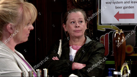Coronation Street - Ep 10093 Monday 27th July 2020 Gary Windass goes to apologise to Brian and Cathy and is panicked when Brian tells him Bernie Winter, as played by Jane Hazlegrove, found a watch in the woods. Gary quizzes Bernie about the watch.