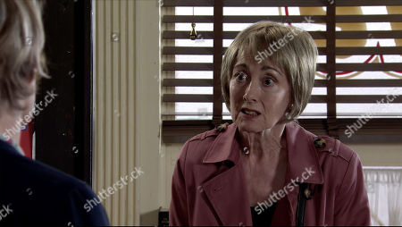 Coronation Street - Ep 10096 Monday 3rd August 2020 Elaine Jones, as played by Paula Wilcox, calls introduces herself to Sally Metcalfe, as played by Sally Dynevor, in the cafe and explains that she's Tim's Mum, it broke her heart to abandon him but Geoff made her life a living hell and now she wants to do what she can to help Yasmeen. Sally urges her not to give up on Tim as one day he'll understand.