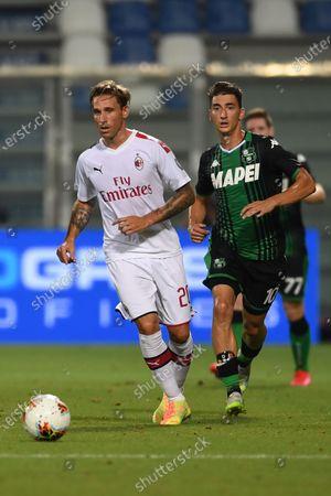 "Lucas Rodrigo Biglia (Milan)Filip Djuricic (Sassuolo) during the Italian ""Serie A"" match between Sassuolo 1-2 Milan at Mapei Stadium in Sassuolo, Italy."
