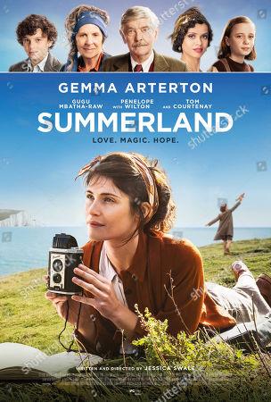 Summerland (2020) Poster art. Lucas Bond as Frank, Penelope Wilton, Tom Courtenay as Mr. Sullivan, Gugu Mbatha-Raw, Dixie Egerickx as Edie and Gemma Arterton as Alice