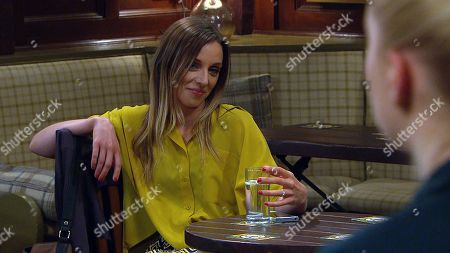 Emmerdale - Ep 8813 Monday 27th July 2020 At the Woolpack, Andrea Tate, as played by Anna Nightingale, forces Jamie Tate to book them a romantic meal, it's the final straw for Belle Dingle, as played by Eden Taylor-Draper, who hurries out.