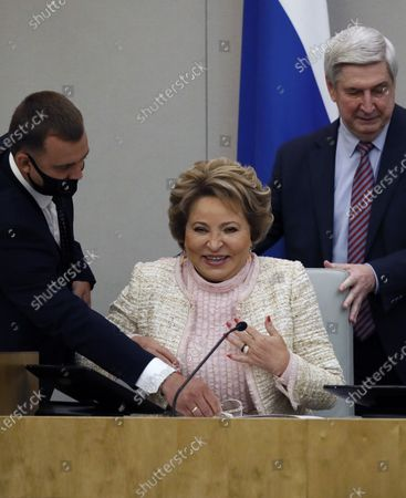 Stock Picture of Chairwoman of the Russia's Federation Council (upper parliament house) Valentina Matviyenko (R) attends a plenary session of the Russian State Duma (lower parliament house) in Moscow, Russia, 22 July 2020.