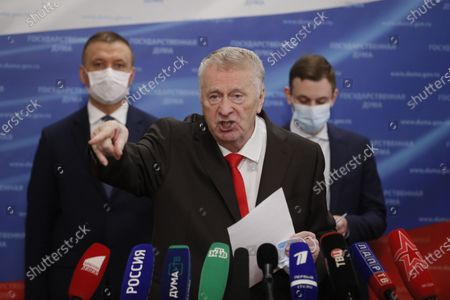 Russian Liberal Democratic Party (LDPR) leader Vladimir Zhirinovsky (R) speaks to journalists before a plenary session of the Russian State Duma (lower parliament house) in Moscow, Russia, 22 July 2020.