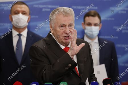 Russian Liberal Democratic Party (LDPR) leader Vladimir Zhirinovsky (C) speaks to journalists before a plenary session of the Russian State Duma (lower parliament house) in Moscow, Russia, 22 July 2020.