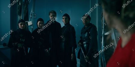 Stock Photo of Olivia Delcan as Sister Camila, Kristina Tonteri-Young as Sister Beatrice, Tristan Ulloa as Father Vincent, Lorena Andrea as Sister Lilith and Toya Turner as Shotgun Mary