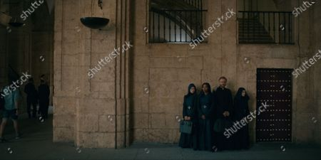 Stock Picture of Kristina Tonteri-Young as Sister Beatrice, Toya Turner as Shotgun Mary, Tristan Ulloa as Father Vincent and Olivia Delcan as Sister Camila