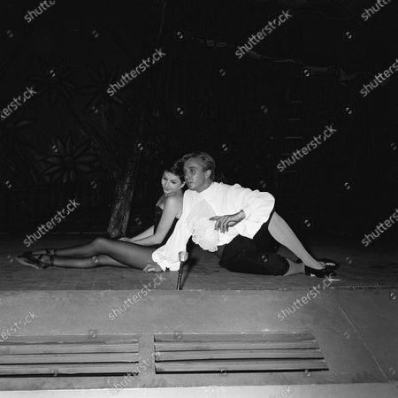 "Zizi Jeanmaire, theatre Sarah Bernhardt in ""Patron"" of Marcel Ayme, scenes Roland Petit , music Guy Beart, costumes Bernard Buffet."