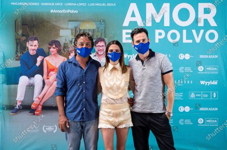Spanish cast members  Enrique Arce, Macarena Gomez and Luis Miguel Segui pose for the photographer during the presentation of the film 'Amor en Polvo' (Powdered Love) in Madrid, Spain, 22 July 2020. The movie, shot in 17 days, will open in Spanish cinemas on 24 July.
