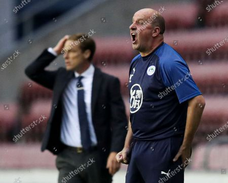 Stock Image of Paul Cook manager of Wigan Athletic