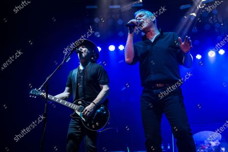 Guitarist Luke Morley and vocalist Danny Bowes of English hard rock group Thunder performing live on stage at Motorpoint Arena in Cardiff, on March 24, 2017.