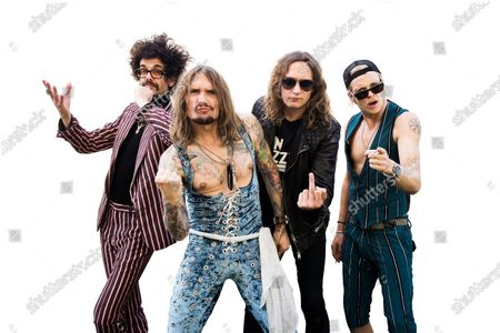 (L-R) Frankie Poullain, Justin Hawkins, Dan Hawkins and Rufus Taylor of British rock group The Darkness, photographed at Chantry Park in Ipswich on August 23, 2019