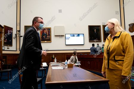 Rep. Debbie Lesko (R-AZ) greets Peter T. Gaynor, Administrator of Federal Emergency Management Agency (FEMA) before a hearing with the House Committee on Homeland Security on Capitol Hill in Washington, DC, USA, 22 July 2020.