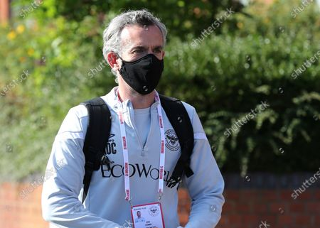 Stock Photo of Brentford Assistant First Team Coach, Kevin O'Connor, arrives at the ground ahead of kick-off wearing a face mask during Brentford vs Barnsley, Sky Bet EFL Championship Football at Griffin Park on 22nd July 2020