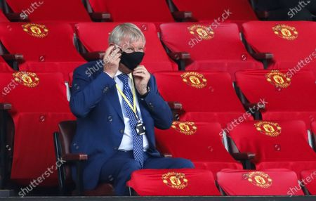Sir Alex Ferguson wearing a protective face mask in the stands prior to the English Premier League match between Manchester United and West Ham United in Manchester, Britain, 22 July 2020.
