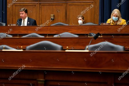 Ranking Member Mike Rogers (R-AL), left, speaks during a hearing with Peter T. Gaynor, Administrator of Federal Emergency Management Agency (FEMA) and the House Committee on Homeland Security on Capitol Hill in Washington, DC, USA, 22 July 2020.