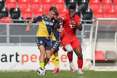 Stock Photo of Monaco's Aleksandr Golovin and Standard's Obbi Oulare fight for the ball during a friendly soccer game between Standard de Liege and AS Monaco, Wednesday 22 July 2020 in Seraing, in preparation of the upcoming 2020-2021 Jupiler Pro League season.