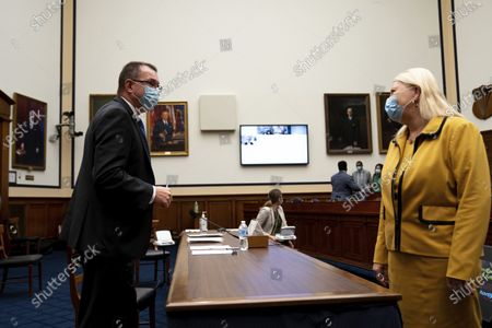 Rep. Debbie Lesko, R-Ariz., greets Federal Emergency Management Agency Administrator Peter Gaynor before a House Committee on Homeland Security meeting on Capitol Hill in Washington, on the national response to the coronavirus pandemic