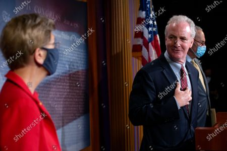 United States Senator Chris Van Hollen (Democrat of Maryland) speaks during a news conference on extended eviction protections at the U.S. Capitol in Washington D.C., U.S..