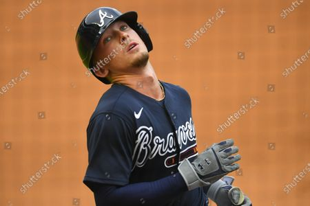 Stock Image of Atlanta Braves' Drew Waters reacts after grounding out to third base during the eighth inning of an exhibition baseball game against the Miami Marlins, in Atlanta