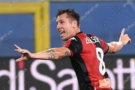 Genoa's Lukas Lerager jubilates with his teammate after scoring during the Italian Serie A soccer match between UC Sampdoria vs Genoa CFC at the Luigi Ferraris stadium in Genoa, Italy 22 July 2020.