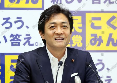 Japan's opposition Democratic Party for the People leader Yuichiro Tamaki speaks at the party's headquarters in Tokyo on Wednesday, July 22, 2020. Democratic Party for the People is likely to merge with another opposition Constitutional Democratic Party of Japan.