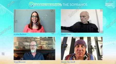 "Entertainment Weekly's Kristen Baldwin, from top left, clockwise, spoke with ""The Sopranos"" creator/executive producer/writer/director David Chase and actors Steven Van Zandt and Steve Buscemi during the Television Academy's streaming member event, ""Quaranstreaming: Comfort TV That Keeps Us Going,"", which is now available for public viewing at emmys.com"