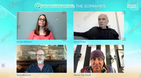 """Entertainment Weekly's Kristen Baldwin, from top left, clockwise, spoke with """"The Sopranos"""" creator/executive producer/writer/director David Chase and actors Steven Van Zandt and Steve Buscemi during the Television Academy's streaming member event, """"Quaranstreaming: Comfort TV That Keeps Us Going,"""", which is now available for public viewing at emmys.com"""