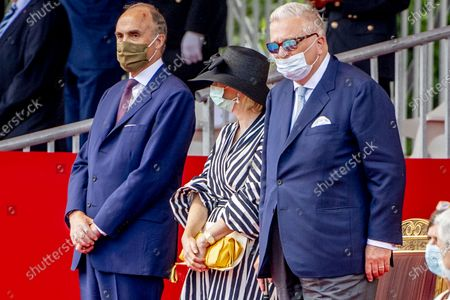 Stock Picture of Prince Laurent of Belgium, Prince Lorenz of Belgium and Princess Astrid of Belgium pictured wearing a mouth mask during the official celebration on the occasion of Today's Belgian National Day, at the Paleizenplein/ Place des Palais.