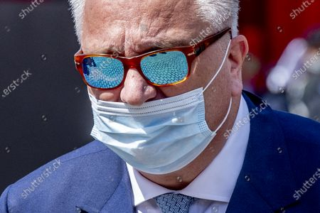 Prince Laurent with mouth mask mouth cap attending the Belgian national holiday 2020.