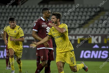 Stock Photo of Turin Vs Verona behind closed doors for the covid19 emergency. Olympic Stadium In the Photo: Goal and exultation by Fabio Borini