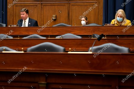 Ranking Member US Representative Mike Rogers (Republican of Alabama), left, speaks during a hearing with Peter T. Gaynor, Administrator of Federal Emergency Management Agency (FEMA) and the House Committee on Homeland Security on Capitol Hill in Washington DC. At right is US Representative Debbie Lesko (Republican of Arizona).