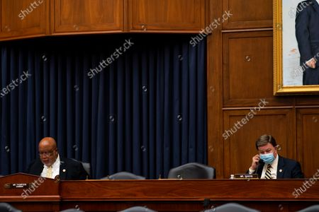 United States Representative Bennie Thompson (Democrat of Mississippi), chairman of the US House Committee on Homeland Security, left, speaks during a hearing with Peter T. Gaynor, Administrator of Federal Emergency Management Agency (FEMA) and the House Committee on Homeland Security on Capitol Hill in Washington DC. at right is United States Representative Mike Rogers (Republican of Alabama).