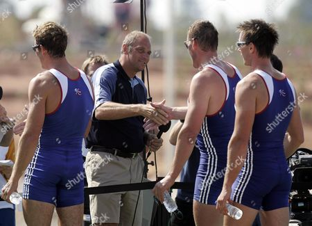 Matthew Pinsent Shakes Hands With Steve Redgrave Also Pictured Ed Coode James Cracknell After Winning Mens Coxless Fours Gold Medal At 2004 Olympic Games In Athens