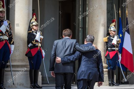 French President Emmanuel Macron (L) and President of Cyprus Nikos Anastasiades (R) prior to their meeting at the Elysee Palace in Paris, France, 23 July 2020.